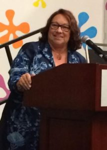 Jo Allison receiving the Best Self-Published Novel Contest award at the JRW Conference.